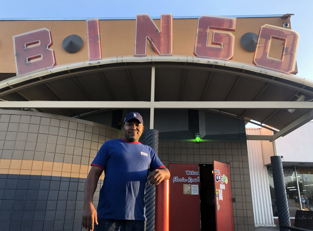 Victor Igbinedion stands in front of the bingo hall